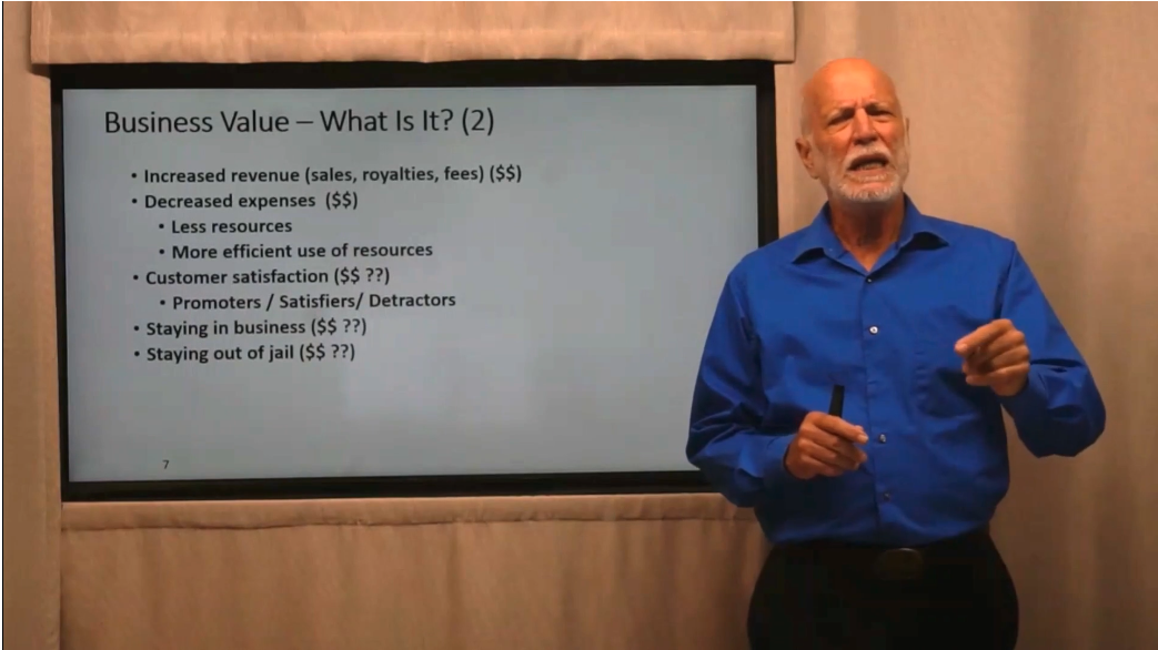 Ken Pugh talking about business value